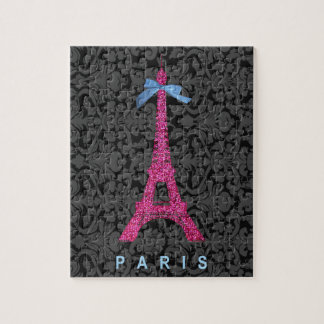 Hot Pink Eiffel Tower in faux glitter Jigsaw Puzzle