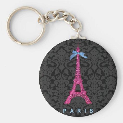 Hot Pink Eiffel Tower in faux glitter Key Chain