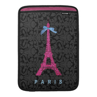 Hot Pink Eiffel Tower in faux glitter MacBook Sleeve