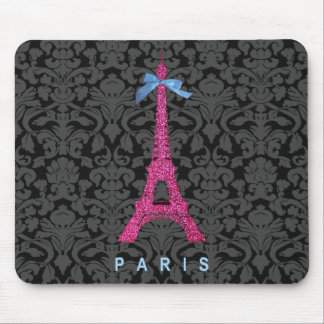Hot Pink Eiffel Tower in faux glitter Mouse Mat