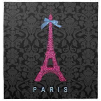 Hot Pink Eiffel Tower in faux glitter Napkin