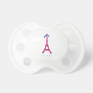 Hot Pink Eiffel Tower in faux glitter Pacifier