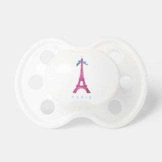 Hot Pink Eiffel Tower in faux glitter Pacifier