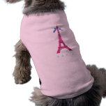 Hot Pink Eiffel Tower in faux glitter Pet T-shirt