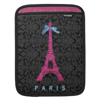 Hot Pink Eiffel Tower in faux glitter Sleeve For iPads