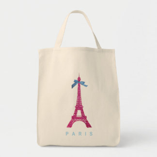 Hot Pink Eiffel Tower in faux glitter Tote Bag