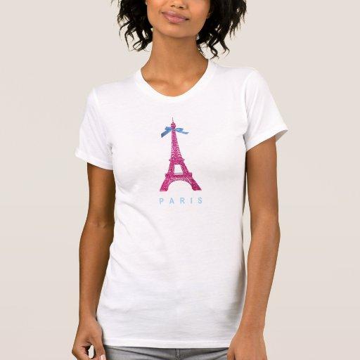 Hot Pink Eiffel Tower in faux glitter Tshirt