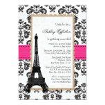 Hot Pink Eiffel Tower Parisian Bridal Shower 13cm X 18cm Invitation Card