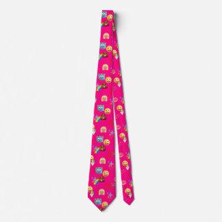 hot pink emoji tie