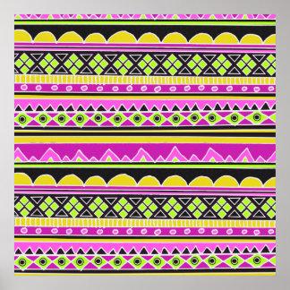Hot Pink ethnic pattern Print