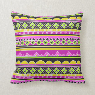 Hot Pink ethnic pattern Throw Pillow