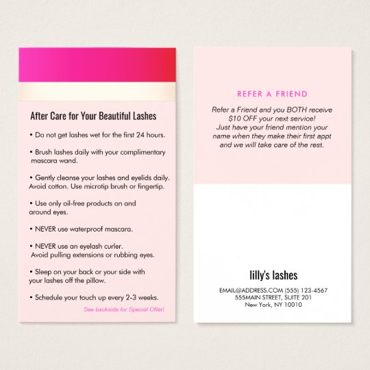 Hot Pink Eyelash Extensions Aftercare Referral Business Card