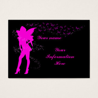 Hot pink fairy business, profile card template