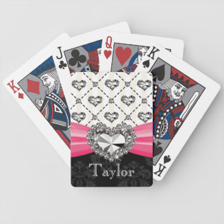 Hot Pink Faux Bling Heart Bicycle® Playing Cards