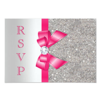 Hot Pink Faux Bow & Diamonds RSVP 9 Cm X 13 Cm Invitation Card