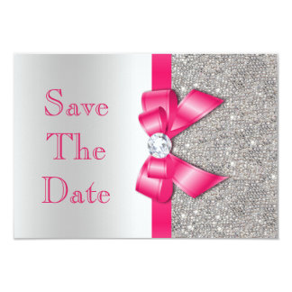 Hot Pink Faux Bow & Diamonds Save The Date 9 Cm X 13 Cm Invitation Card