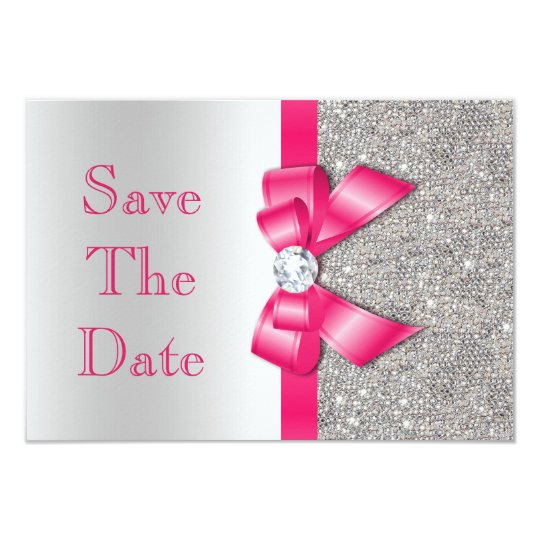 Hot Pink Faux Bow & Diamonds Save The Date Card