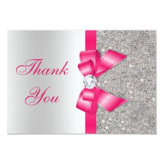 Hot Pink Faux Bow & Diamonds Thank You 9 Cm X 13 Cm Invitation Card