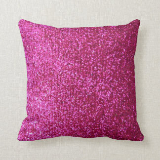 Hot Pink Faux Glitter Cushion