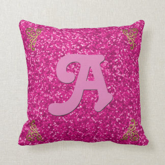 Hot Pink | Faux Glitter Glam Monogram Throw Pillow