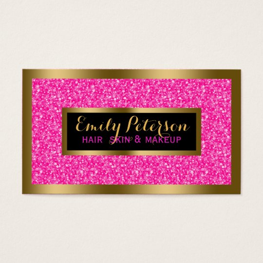 Hot Pink Faux Glitter Gold Accents Makeup Business