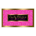 Hot Pink Faux Glitter Gold Accents Makeup Pack Of Standard Business Cards