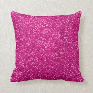 Hot Pink | Faux Glitter Look Sparkly Sparkles Glam Throw Pillow