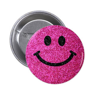 Hot pink faux glitter smiley face 6 cm round badge