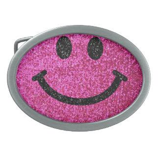 Hot pink faux glitter smiley face belt buckle