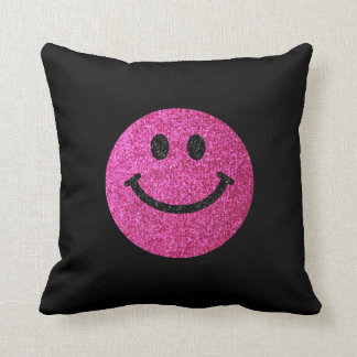 Hot pink faux glitter smiley face cushion