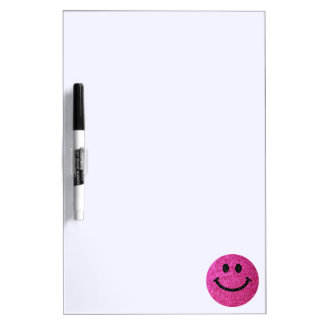 Hot pink faux glitter smiley face dry erase board