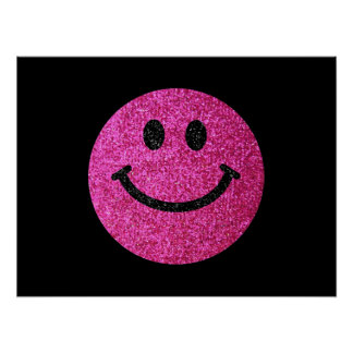 Hot pink faux glitter smiley face print