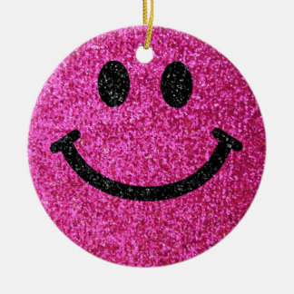 Hot pink faux glitter smiley face round ceramic decoration