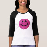 Hot pink faux glitter smiley face t-shirts
