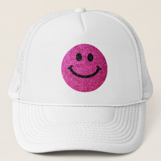 Hot pink faux glitter smiley face trucker hat