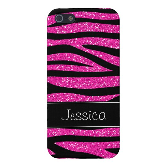 Hot Pink Faux Glitter Zebra Personalised iPhone 5/5S