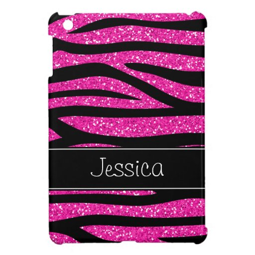 Hot Pink Faux Glitter Zebra Personalized Case For The iPad Mini