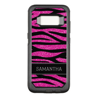 Hot Pink Faux Glitter Zebra Personalized OtterBox Commuter Samsung Galaxy S8 Case