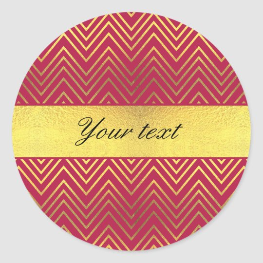 Hot Pink Faux Gold Foil Chevrons Round Sticker