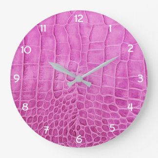 Hot Pink Faux Leather Large Clock