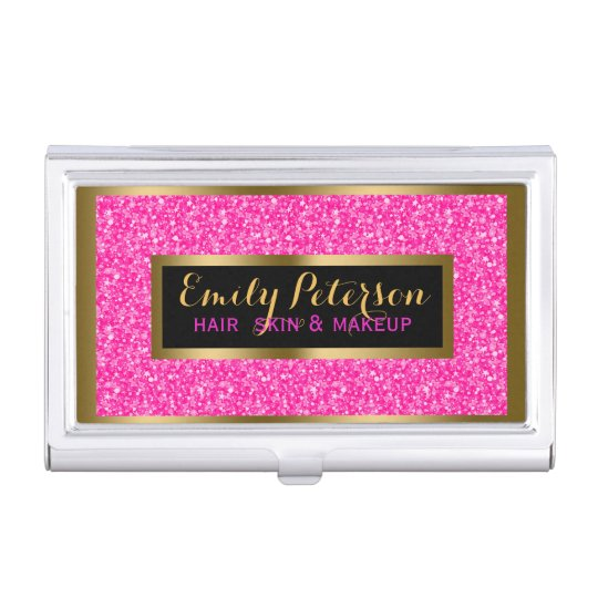 Hot Pink Fax Glitter Gold Accents Makeup Business