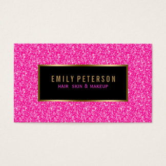 Hot Pink Fax Glitter With Black And Gold Accents Business Card