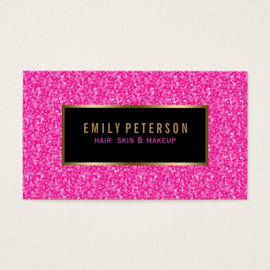 Hot Pink Fax Glitter With Black And Gold