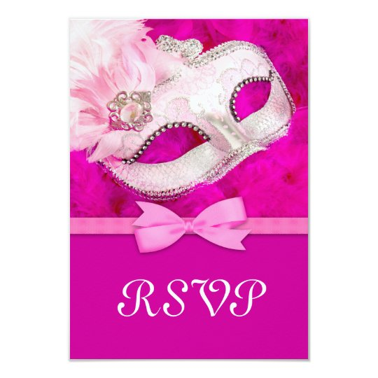 Hot Pink Feather Mask Masquerade Party RSVP Card