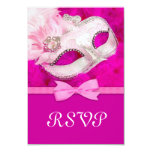 "Hot Pink Feather Mask Masquerade Party RSVP 3.5"" X 5"" Invitation Card"