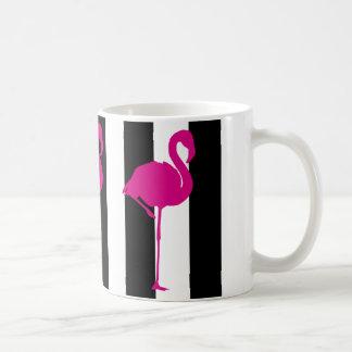 Hot Pink Flamingo on Black and White Stripe Basic White Mug