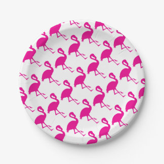 Hot Pink Flamingo Paper Plate