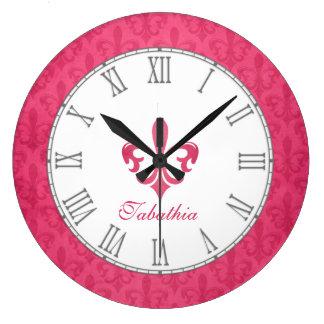 Hot pink fleur de lis damask name wall clock