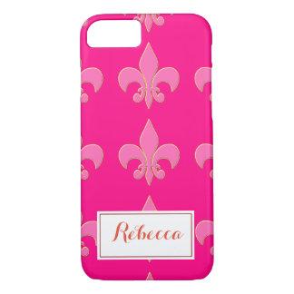 Hot Pink Fleur de lis iPhone 7 Case