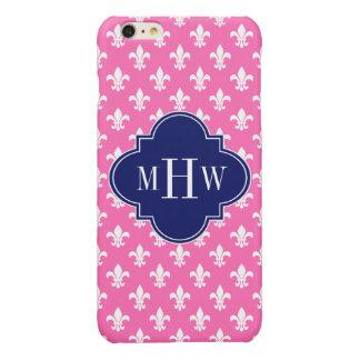 Hot Pink Fleur de Lis Navy 3 Initial Monogram iPhone 6 Plus Case